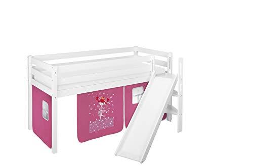 Lilokids Spielbett JELLE 90 x 190 cm Zauberfee - Hochbett weiß - mit schräger Rutsche und Vorhang