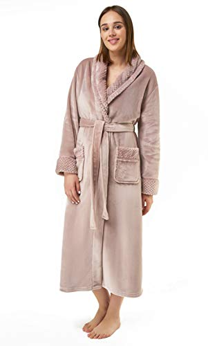 Turquaz Damen Weicher warmer Fleece-Bademantel, bequeme Robe