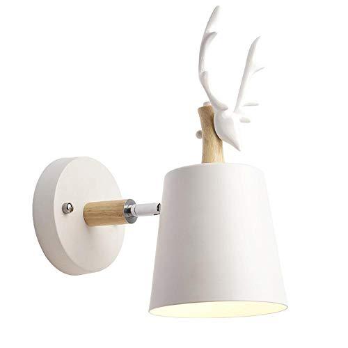 Lámpara de pared Creativo Madera Metal Apliques de Pared Hierro E27 Moderno Simple Luz de Pared Retro para Dormitorio Sala Restaurante Cocina Café Habitación Cabecera, Blanco