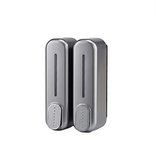 UsmanCR1 Dispensadores de Loción y de Jabón Dispensador de Ducha, montado Pared de la Ducha de baño Cocina y baño de Dos Piezas champú y jabón ABS Gris
