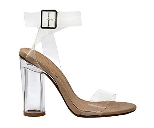 Dunes Women's Nellie Lucite Heel Sandal +Memory Foam Insoles, Clear 10