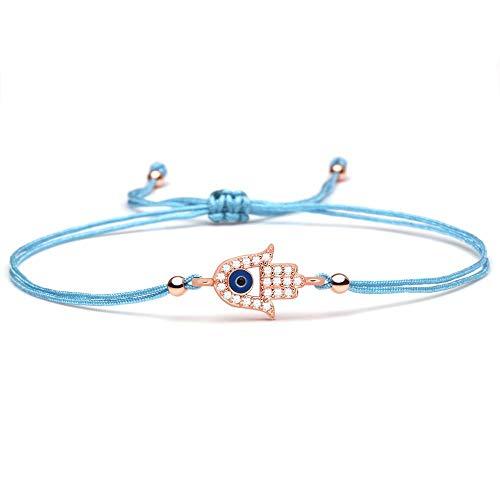 Shiny White Cubic Zirconia Copper Hamsa Hand Blue Evil Eye Luck Charm Bracelet Women Girl Cute Small Hand Fatima Fashion Jewelry Size 14-28Cm Adjustable