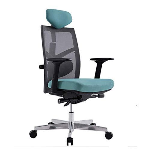 Silla ergonomica para computadora, silla de oficina de malla para el hogar silla de conferencia para el personal silla giratoria silla principal de tubo multifuncion-green