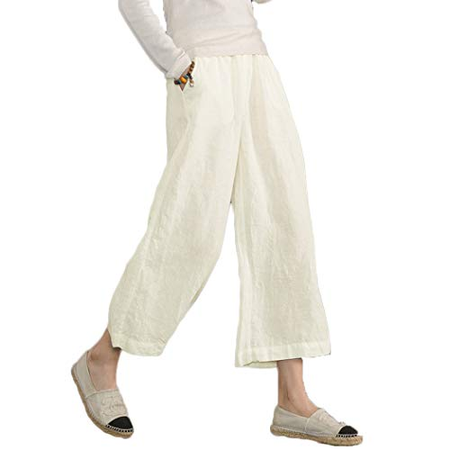 Ecupper Womens Casual Loose Elastic Waist Cotton Trouser Cropped Wide Leg Pants White L