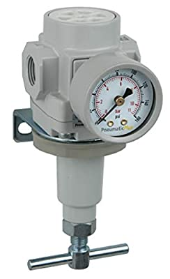 "PneumaticPlus SAR400T-N04BG Compressed Air Pressure Regulator 1/2"" NPT with Gauge & Bracket (T-Handle) by PneumaticPlus"