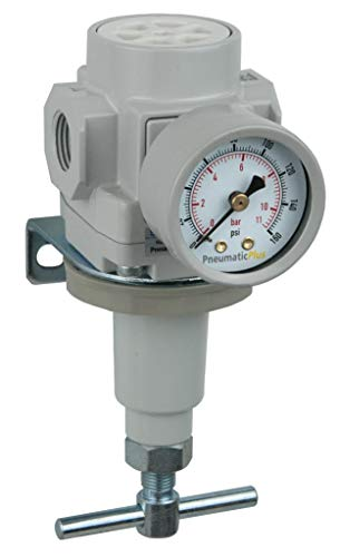 "PneumaticPlus SAR400T-N04BG Compressed Air Pressure Regulator 1/2"" NPT with Gauge & Bracket (T-Handle)"
