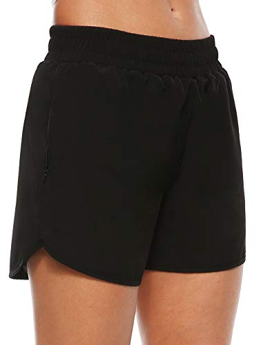 Persit Sporthose Damen Kurz, Sport-Shorts Laufshorts Kurze Laufhose Jogginghose Schwarz 46-48 (Herstellergröße: XXL)