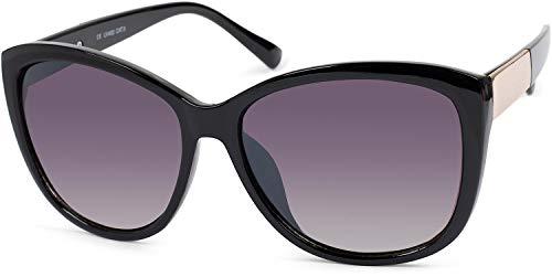 styleBREAKER gafas de sol de mujer sobredimensionadas con detalle de metal en las patillas, lentes de policarbonato y montura de plástico 09020099, color:Dorado-negro montura/Gris vidrio corrido