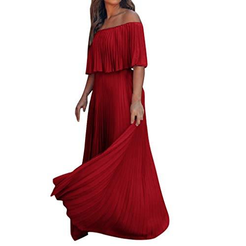 Damen Mode One Shoulder Plissee Maxikleid für Party Sommer Damen Elegant Einfarbig Lange Kleider für Hochzeit Party Urlaub Größe 36-42 Gr. 36, rot