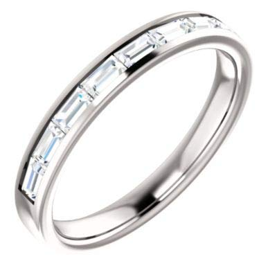 JewelryWeb Anillo de Oro Blanco de 14 Quilates con Canal 0,5 DWT y Diamantes a Juego, Talla M 1/2