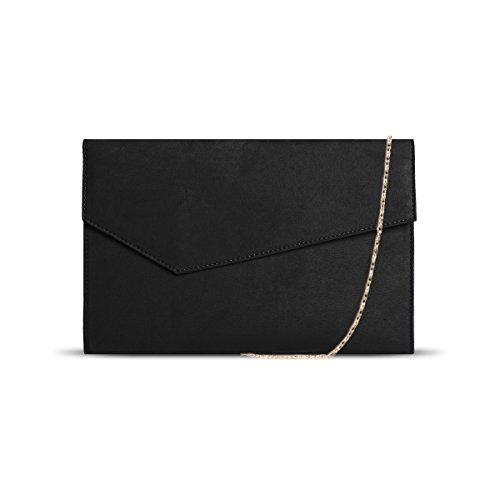 DSUK 1943 Cartera de Mano Negra, Bolso de embrague de las señoras sobre con bolsillo extraíble Banda de cadena de oro partido imán Gancho de imitación de gamuza bolso de noche negro