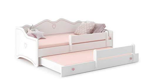 EMMA Kinderbett mit 2 Liegeflächen und 2 Matratzen für Mädchen und Jungen 160x80cm...