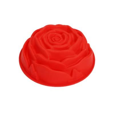 RoseFlower Kuchen Silikonform,Rosen Blumen Form,einzelne große Blumen Backform,23.5 * 7cm-Kuchen Schokolade Pudding Jelly Soap Muffin DIY Backwerkzeug Rose Valentinstag