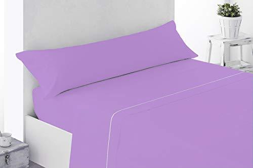 Energy Colors Textil - Hogar Juego SÁBANAS DE Verano Lisas (3 Piezas) para Cama Individual DE Matrimonio 135 cm (LIQUIDACIÓN) (Gris/Rojo)