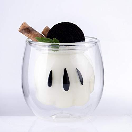 lvenyz Creativo de dibujos animados de vidrio doble pared transparente taza de café bebida fría taza restaurante leche leche cabuccino café latte