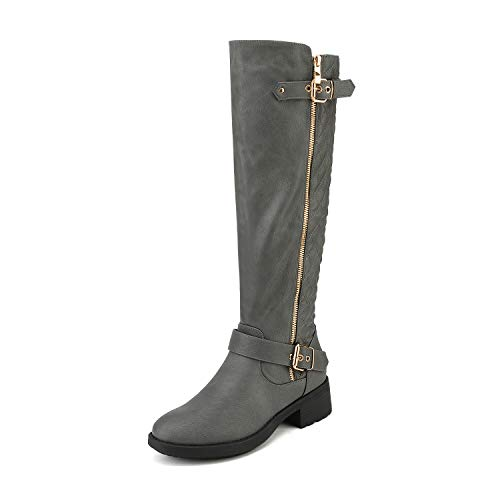 DREAM PAIRS Women's Utah Grey Low Stacked Heel Knee High Riding Boots Size 7 M US