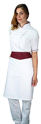 divisa cuoco chef donna manica corta bianco e nero tessile astorino completo Made in Italy pantalone giacca e davantino