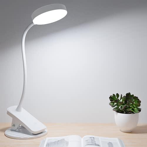Luz Lectura con Flexo Pinza, Hepside 32LED Lampara Escritorio Pinza Recargable USB Atenuación continua 3 modos de iluminación Flexo Led Pinza Protección Ocular 360°Flexible lampara para leer en la cam