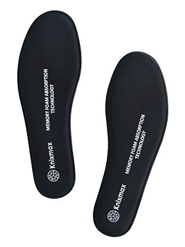 Knixmax Memory Schaum Einlegesohlen für Damen Herren - Weich Komfort SchuhEinlagen für Sport, Freizeit und Beruf - für Arbeitsschuhe, Wanderschuhe, Sneaker Männer Schwarz 46 EU
