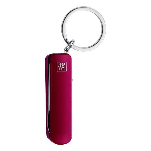 ZWILLING Multi-Tool Maniküre Schlüsselanhänger, Nagelschere Nagelknipser Nagelfeile im Reiseformat Edelstahl, Rot, 60 mm