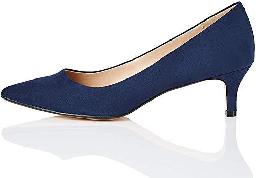 Marca Amazon - find. CONNIE-S2C1-Court Zapatos de tacón con Punta Cerrada, Azul (Navy), 40 EU