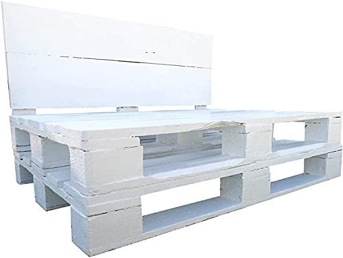 Sofa de palets Europeos Color Blanco para colchonetas de 120 x 60 cm - Banco de palets EUR para Jardin Terraza, Patio - Muebles de palets