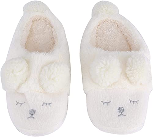 RosieLily Zapatos Casuales Cálidos De Invierno Zapatos Lindos De Dibujos Animados De Ropa Interior para Mujer(Size:40-41,Color:Blanco)