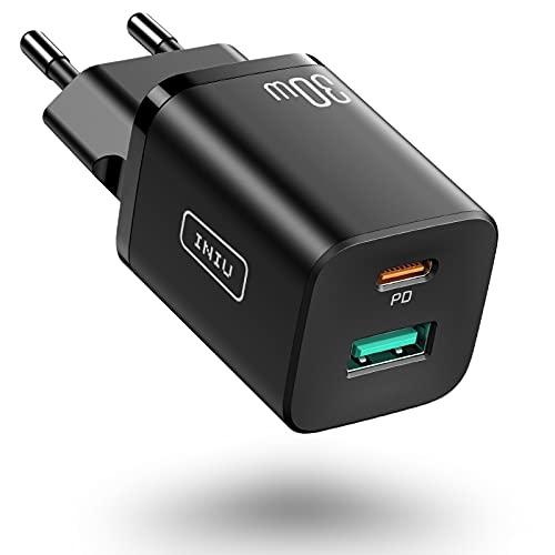INIU Cargador USB C, 30W Cargador Móvil USB C Power Delivery 3.0 Carga Rápida y USB QC 3.0 para iPhone 12 Pro MAX 11 Samsung S20 Note 20 iPad Huawei Xiaomi y Más