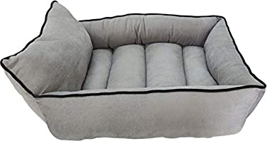 Mellifluous Dog and Cat Pet Bed with Long Pillow, Grey-Black