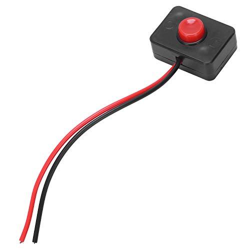 TOOGOO(R) DC 12V2A Interruptor de cableado para COCHES Pulsador de base adhesivo con accionamiento momentaneo