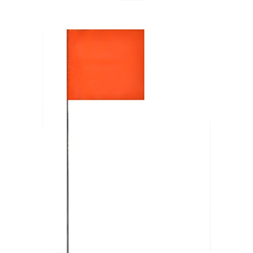 Swanson FOR15100 2-Inch by 3-Inch Marking Flags with 15-Inch Wire Staffs, Orange 100-Pack
