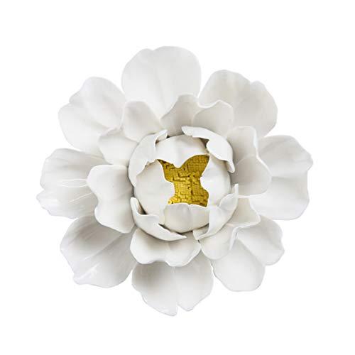 GARNECK Flor de cerámica hecha a mano 3d colgante de pared adorno colgante de peonía de cerámica 3d decoración de regalo colgante para oficina en casa (blanco)
