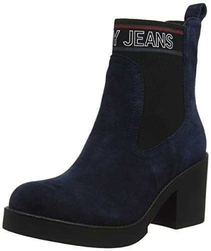 Tommy Hilfiger Damen Corporate Elastic Suede Boot Stiefeletten, Blau (Midnight 403), 42 EU