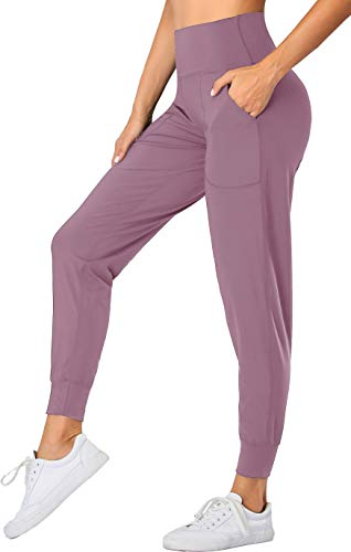 Oalka Women's Joggers High Waist Yoga Pockets Sweatpants Sport Workout Pants Lavender Mist M