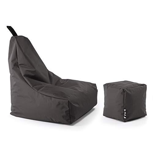 Patchhome Lounge Sessel + Würfel XXL Gamer Sitzsack Sitzkissen Sitzsäcke Erwachsene Riesensitzsack Kinder fertig mit Styropor Füllung befüllt In & Outdoor geeignet in 2 Größen und 25 Farben Anthrazit