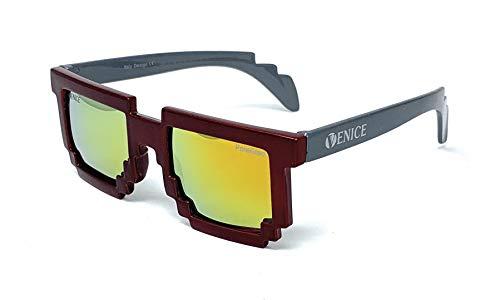 VENICE EYEWEAR OCCHIALI Gafas de sol Pixel Polarizadas para niño (Rojo-Gris)