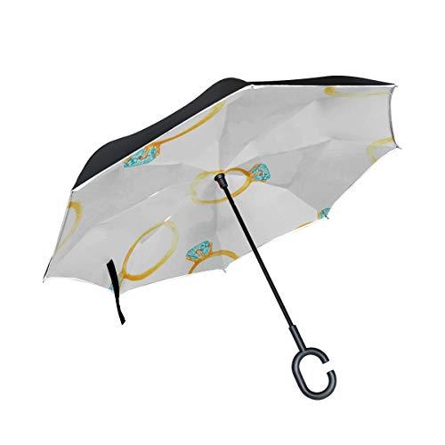 Double Layer Inverted Double Layer Reverse Umbrella Golden Diamond Verlobungsringe Reversible Umbrella für Männer Reversible Umbrella Großer winddichter UV-Schutz für Regen mit C-förmigem Griff