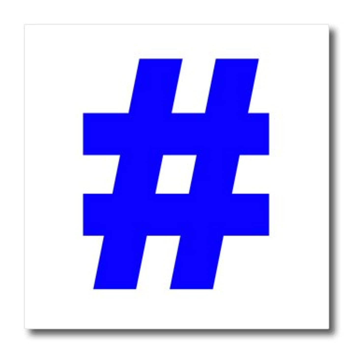 3dRose ht_107342_2 Blue Hashtag,-Iron on Heat Transfer for Material, 6 by 6-Inch, White