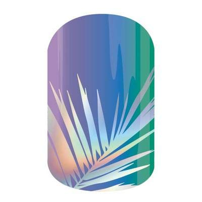 F.R.O.N.D.S. - Jamberry Nail Wraps - Full Sheet - Holographic Palm Leaf on Purple Ombre