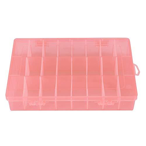 24 Grid Opbergdoos 24 Grid Plastic Sieraden Verstelbare Doos Verwijderbare Organizer Pareloorringen Opbergdoos voor Zakelijke Sieraden, Schroeven, Moeren, etc. (Oranje)