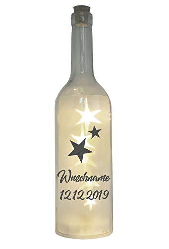 WB wohn trends LED-Flasche mit Motiv, Sternenkind Wunschname personalisiert, grau, 29cm, Flaschen-Licht Lampe mit Text Spruch Trauer