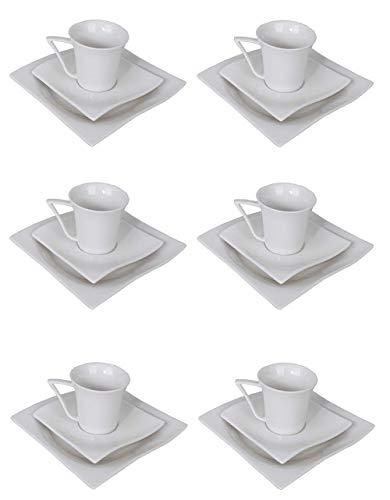 Home Ideal Kaffeeservice 18tlg eckig Porzellan 6 Personen Teller Tassen Geschirr weiß