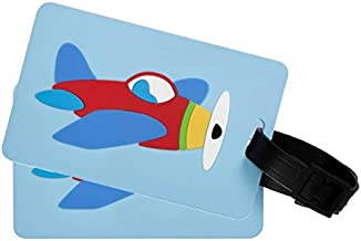 Wildkin Kids Luggage Tags for Boys and Girls, Includes 2 Matching Bag Tags and Removable Information Card, Perfect Size for Attaching to Suitcases, Backpacks and Duffle Bags, Olive Kids (Airplane)
