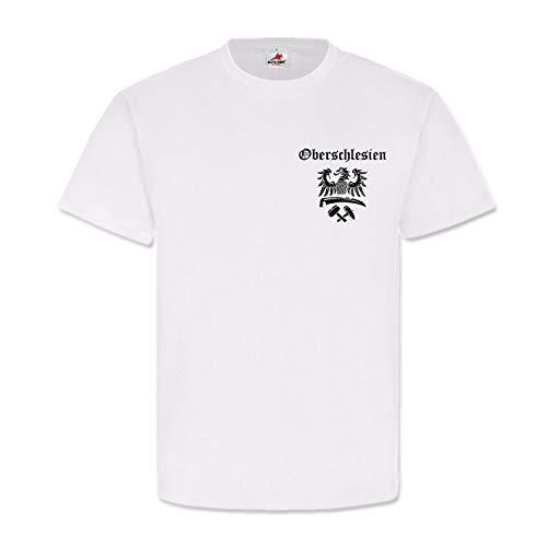 Oberschlesien Schlesien Heimat Adler Wappen Logo Deutschland - T Shirt #6670, Größe:S, Farbe:Weiß