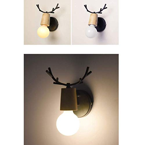 WY-YAN 1Pc Wood Wall Lamp Creative Nordic Antler Style Personality Decorative Lamp Home Decor Wall Light for Bedroom Aisle Living Room