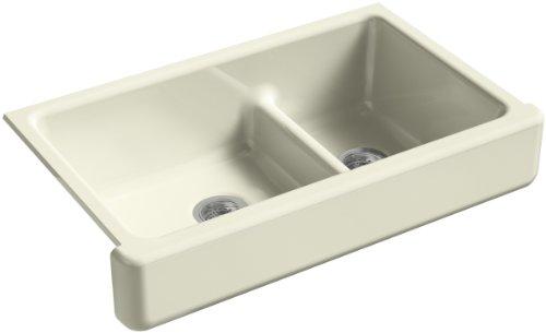 KOHLER Whitehaven Undermount Farmhouse Short Apron-Front Cast Iron 36 in. Double Bowl Kitchen Sink in Cane Sugar