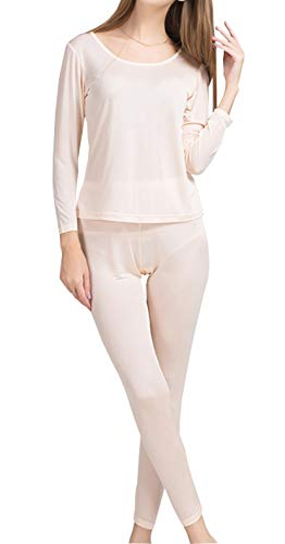METWAY Women's Silk Long Johns Silk Thermal Underwear Sets|Winter Silk Long Underwear(Large, Fleshcolor)