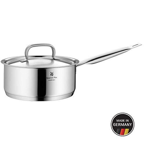 WMF Gourmet Plus Stielkasserolle, 16 cm, Metalldeckel mit Dampföffnung, Kochtopf 1,4l, Cromargan Edelstahl mattiert, Innenskalierung, Topf Induktion, unbeschichtet