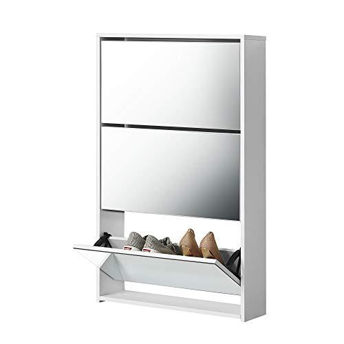 [en.casa] Scarpiera con Specchio 102,5 x 63 x 17 cm Scaffale per Scarpe Portascarpe Truciolato Melaminico Bianco