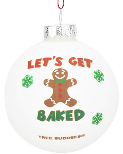Tree Buddees Gingerbread Man Get Baked Funny Glass Christmas Ornament